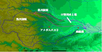 図2 根川流域(26.2 m2)及び浅川流域(153.9 m2)