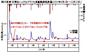 図3 根川流域 日単位ハイドログラフと流量観測実測値