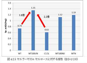 図2 セルラーゼの糖化比活性 WT:T. reeseiの野生株、MT100UN:UV照射+亜硝酸浸漬変異株、 MT100NU:亜硝酸浸漬+UV照射変異株、MTN:亜硝酸浸漬変異株
