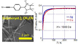 図1 磁性有機化合物の銅アセチリドによるナノワイヤーと磁化率